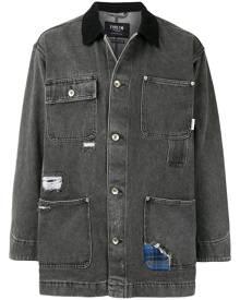 FIVE CM distressed denim shirt jacket - Grey