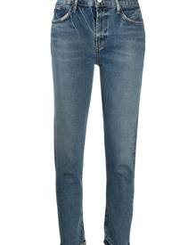 AGOLDE ripped mid-rise cropped jeans - Blue