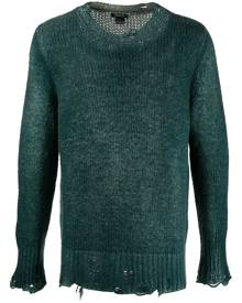 Avant Toi distressed ribbed knit jumper - Green