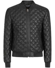 Dolce & Gabbana DG embroidery leather jacket - Black