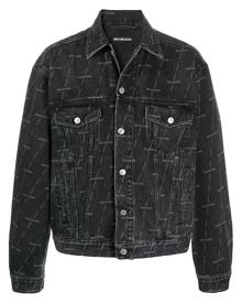 Balenciaga logo print denim jacket - Black