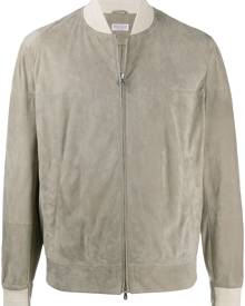 Brunello Cucinelli leather bomber jacket - Neutrals