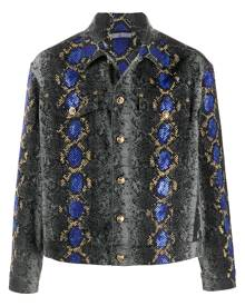 Versace snakeskin print embellished denim jacket - Black