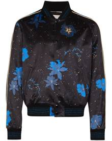 Saint Laurent floral print bomber jacket - Black