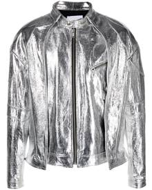 AMBUSH metallic leather bomber jacket - Silver