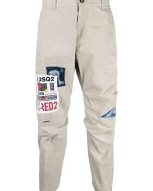 Dsquared2 patch-detail tapered cotton trousers - Neutrals
