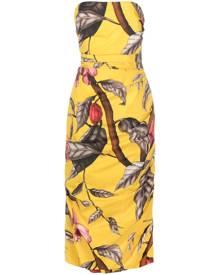 Johanna Ortiz botanical-print strapless dress - Yellow