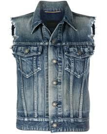 Saint Laurent sleeveless distressed denim jacket - Blue