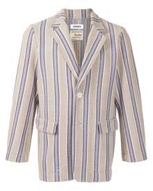 Coohem tech tweed striped blazer - Brown