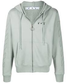 Off-White logo-print diagonal-stripe hoodie - Green