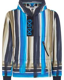 Dolce & Gabbana paint-effect stripe hoodie - Blue