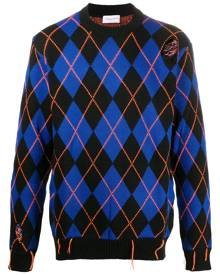 Family First argyle-pattern distressed jumper - Blue