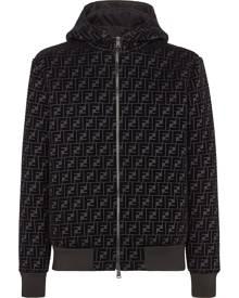 Fendi velvet FF zipped hooded jacket - Black