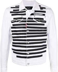 Dsquared2 logo-print striped denim jacket - White
