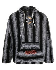 PACCBET rassvet-print stripe-woven hoodie - Black