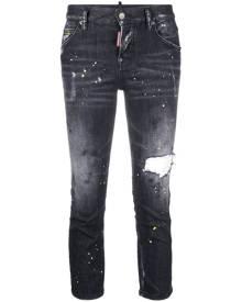 Dsquared2 paint-splatter cropped jeans - Black