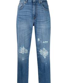 7 For All Mankind cropped distressed jeans - Blue