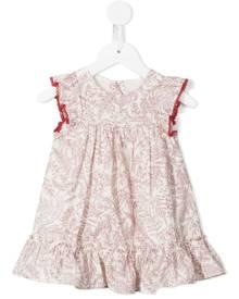 Tartine Et Chocolat botanical-print ruffle-trim dress - Red