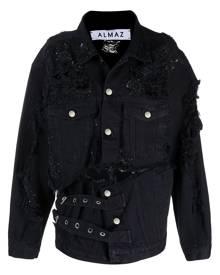 Almaz bead-embellished denim jacket - Black