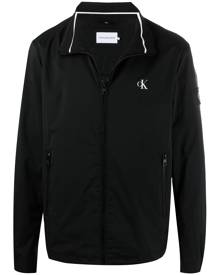 Calvin Klein Jeans logo-print zip-up windbreaker jacket - Black
