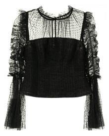 Self-Portrait semi-sheer tulle blouse - Black