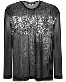 Junya Watanabe sequin-embellished sheer top - Black