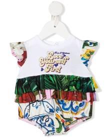 Dolce & Gabbana Kids ruffle-detail sleeveless romper - White