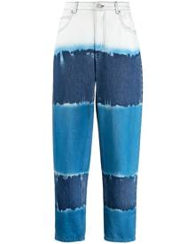 Alberta Ferretti tie-dye high-waisted tapered jeans - Blue