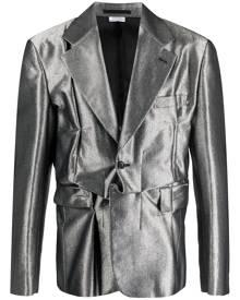 Comme Des Garçons Homme Plus metallic deconstructed blazer - Silver