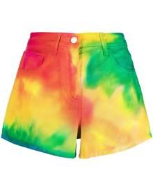 IRENEISGOOD rainbow tie-dye denim shorts - Yellow
