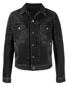 Balmain distressed ribbed denim jacket - Black