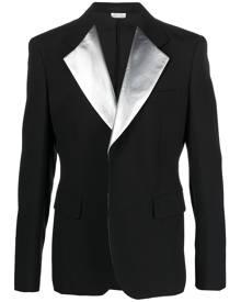 Comme Des Garçons Homme Plus single-breasted metallic lapel blazer - Black