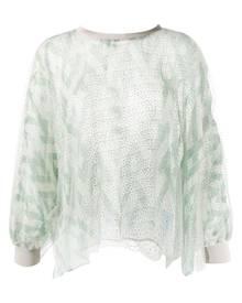Giorgio Armani geometric-print tulle blouse - Green