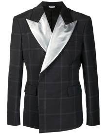 Comme Des Garçons Homme Plus metallic peak-lapel checked blazer - Grey