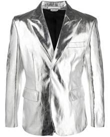 Comme Des Garçons Homme Plus metallic single-breasted herringbone blazer - Silver