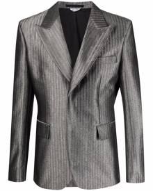 Comme Des Garçons Homme Plus single-breasted metallic blazer - Silver