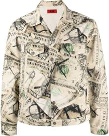 424 dollar bill print denim jacket - Neutrals