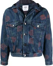 Opening Ceremony rose-print denim jacket - Blue
