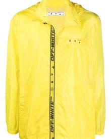 Off-White logo-print zip-up windbreaker - Yellow