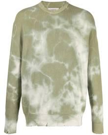 Laneus tie-dye print distressed-effect jumper - Green