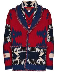 Alanui Regenerated icon Scala print cardigan - Red