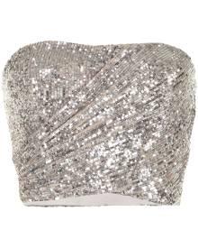 Semsem sequin-embellished bustier top - Silver