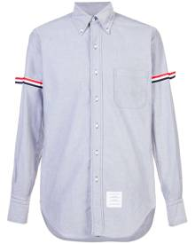 Thom Browne - Long Sleeve Shirt With Grosgrain Armbands In Navy Oxford - men - Cotton - 0, 1, 2, 3, 4, 5 - BLUE