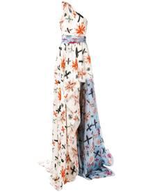 Fausto Puglisi - flared maxi dress - women - Silk/Acetate - 40, 42 - WHITE