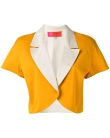 Emanuel Ungaro Vintage - colour block bolero jacket - women - Cotton - 46, 48 - YELLOW & ORANGE