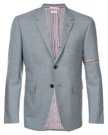 Thom Browne Single Breasted Sport Coat With Red, White And Blue Selevedge In Medium Grey School Uniform Twill