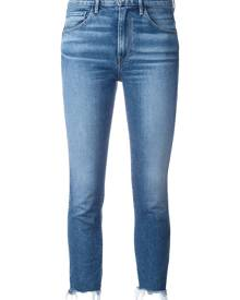 3X1 - frayed trim cropped jeans  - women - Cotton/Polyester/Spandex/Elastane - 24, 25, 26, 27, 28, 29, 30, 31 - BLUE