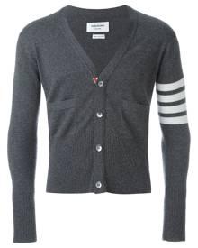 Thom Browne - V-Neck Cardigan With 4-Bar Stripe In Medium Grey Cashmere - men - Cashmere - 0, 1, 2, 3, 4, 5, 00 - GREY