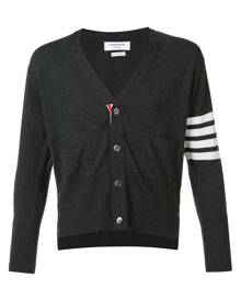 Thom Browne - Classic Short V-Neck Cardigan With White 4-Bar Stripe In Cashmere - men - Cashmere - 00, 0, 1, 2, 3, 4 - GREY