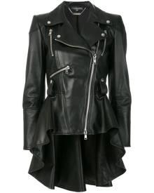 Alexander McQueen - peplum waist biker jacket - women - Lamb Nubuck Leather/Silk - 38, 40, 42, 46 - BLACK